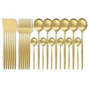 Dinnerware-Set Knife-Fork Flatware Gold Kitchen 304-Stainless-Steel Cutlery-Set 24pcs