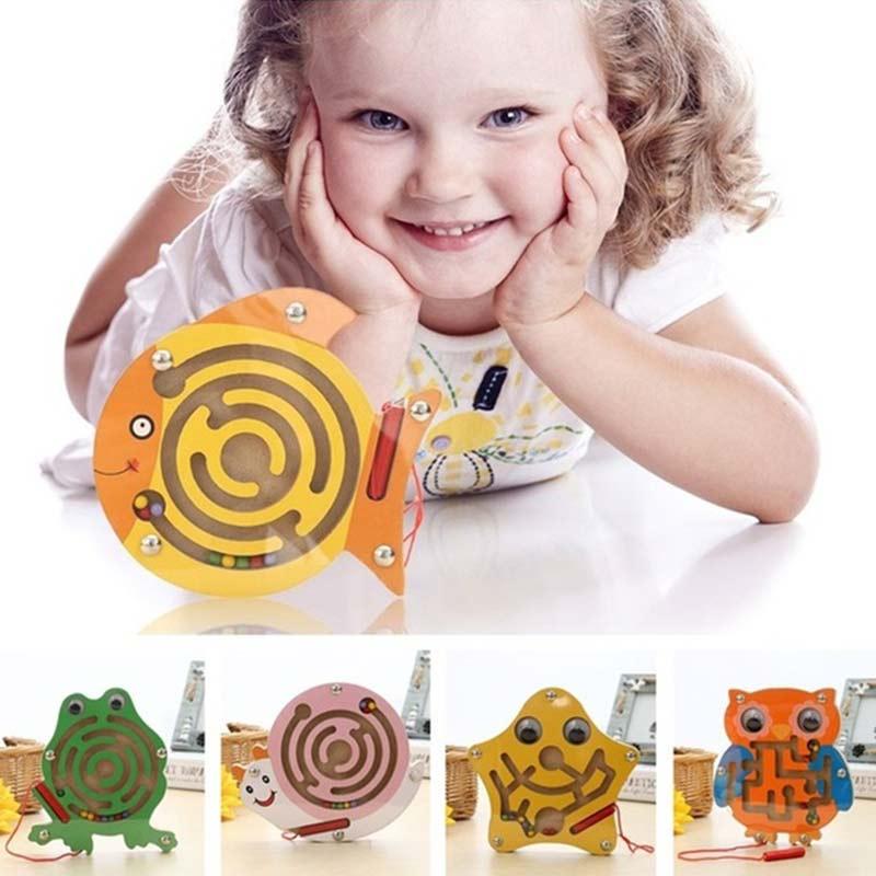Детский Магнитный лабиринт, игрушка деревянная головоломка для детей, игра, игрушка, головоломка, деревянная интеллектуальная доска, Детск...