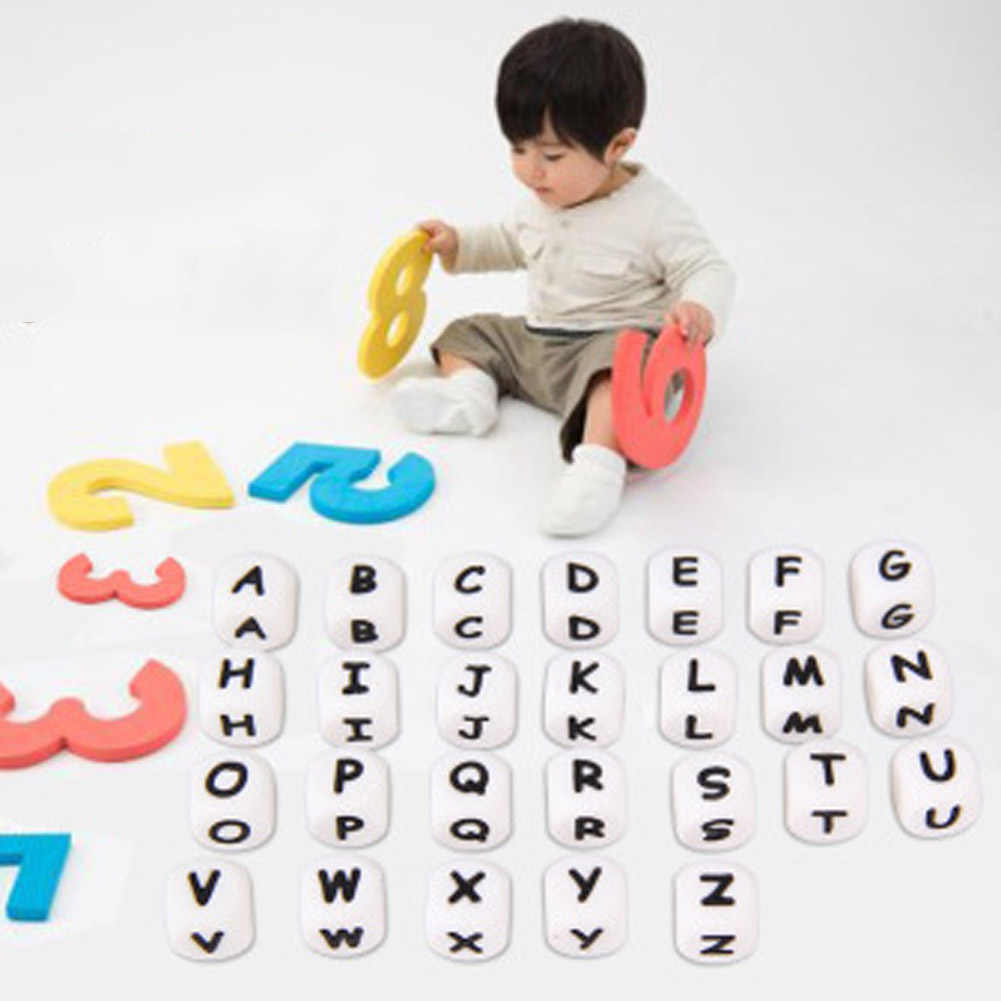 1PCS Cute Baby Silicone Teether Chain Charm DIY 26pcs A-Z Letters Beads Necklace Teething Toy