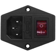 3 פין IEC320 C14 מפרצון מודול Plug נתיך מתג זכר כוח שקע 10A 250V