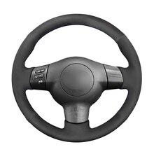 غطاء عجلة القيادة من جلد الغزال الصناعي ، أسود ، لتويوتا كورولا RAV4 كالدينا ويش سليل tC xA xB 2003 2004 2005 2006 2008 2009