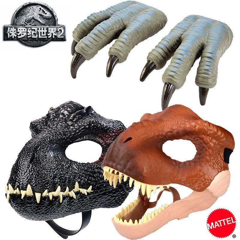 Dinosaurio Jurassic World, juguete de Rex, máscara de Indoraptor, Velociraptor, garras azules, Cosplay, dinosaurio, juguetes para niño, figura de Anime FLY93