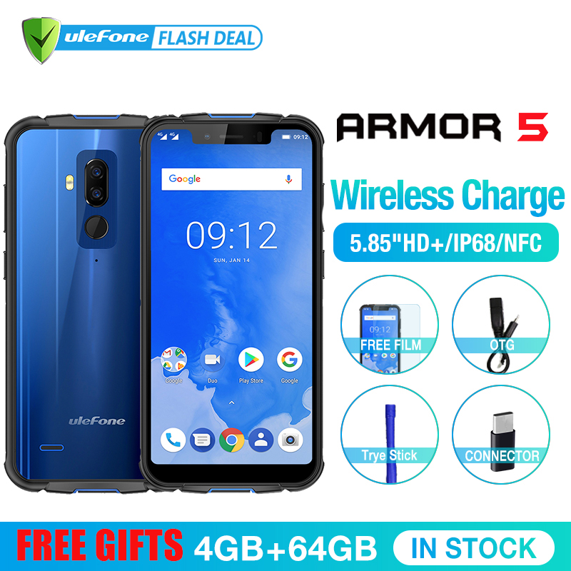 "Ulefone Armor 5 Waterproof IP68 NFC 5.85"" HD+ Mobile Phone MT6763 Otca-core Android 8.1 4GB+64GB Wireless charge Face ID 5000mAh"