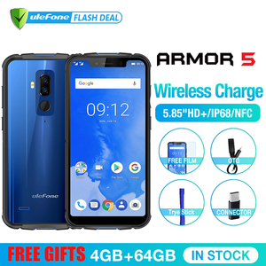 "Image 2 - Ulefone Armor 5 مقاوم للماء IP68 NFC 5.85 ""HD + الهاتف المحمول MT6763 Otca Core أندرويد 8.1 4GB + 64GB اللاسلكية تهمة الوجه معرف 5000mAh"