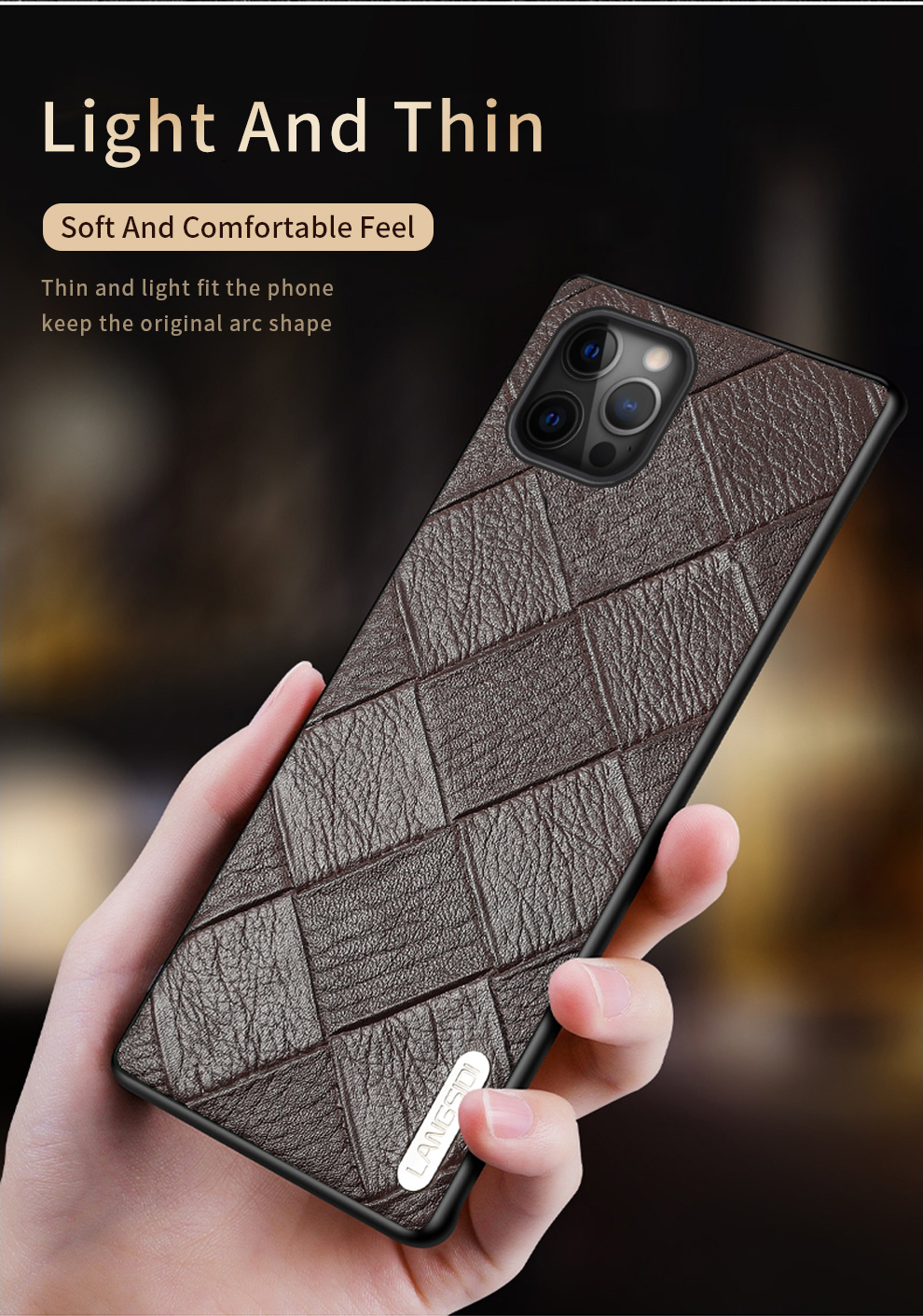 Genuine Leather Rhombus Grain Phone Cases For iPhone 12 Mini