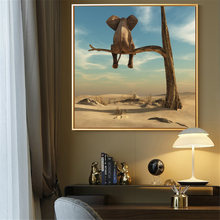 Забавный слон на дереве современное минималистское полотно настенные