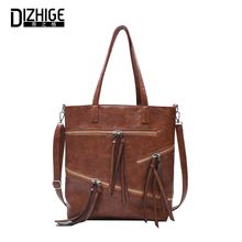 DIZHIGE Brand Luxury Solid PU Women Bags High Quality Crossbody For Fashion Large Capacity Zipper Shoulder Bag Female