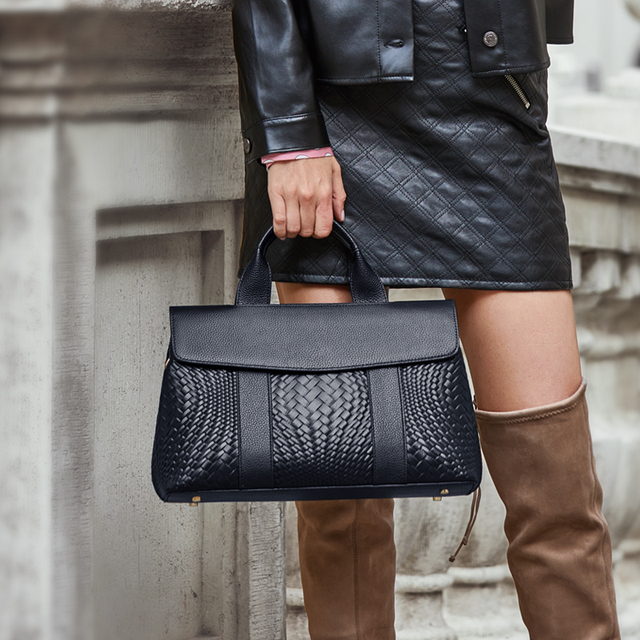 ZOOLER Handmade Woven Women Bag Designed Soft Genuine Leather Bags Women Leather Handbags Black Luxury Shoulder Bag Ladies Y128