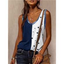 2021 Summer Women's New Loose Hedging Casual U-Neck Street Hipster Sleeveless Star Print Sexy Comfortable Vest T-Shirt