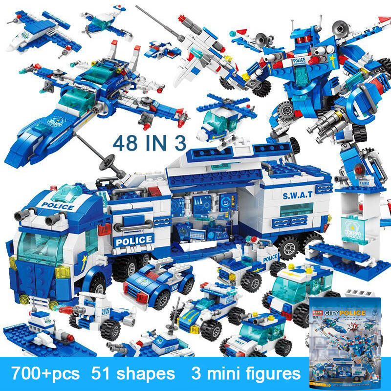 legoINGlys City Police Station Building Blocks Car Headquarters Blocks Toys Truck SWAT Military Bricks Toys for
