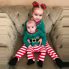 Baby Sets Clothes Infant Kids Boy Girl T shirt Tops+Striped Pants Christmas 3PCS Outfits Set