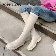Женские сапоги ручной работы sophitina удобные до колена из