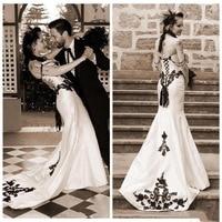 Gothic Mermaid Wedding Dresses 2020 Satin Black Lace Sweetheart sexy backless robes de mariee Vestidos De Novia Bridal Gown