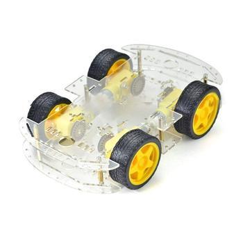 Tanie 2 4WD Robot inteligentne podwozie samochodu zestawy z enkoder prędkości dla Arduino 51 DIY edukacji STEM Robot inteligentny zestaw samochodowy dla studentów tanie i dobre opinie Electric 14 Lat i up Fantasy i sci-fi MBS0041 None YELLOW