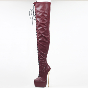 Image 3 - jialuowei Crotch High Boots with Gold Metal Stiletto Heels Lace Up High Heel Platform Shoes Pointed Toe Over Knee Women Boots