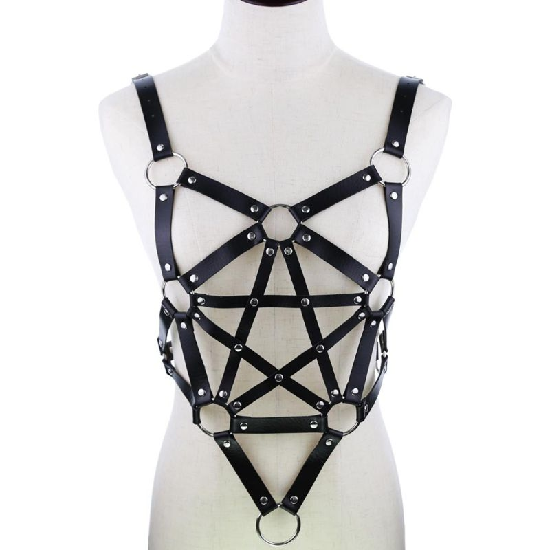 Women Men Gothic Punk Chest Body Harness Faux Leather Adjustable Waist Belt Suspenders Hollow Out Pentagram Star Rave Outfits