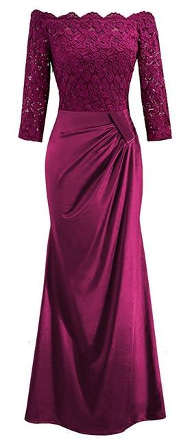 BacklakeGirls Elegant Lace Boat Neck Pleat Long Satin Evening Dress Floor-length Mother Of Bride Dress vestidos de mãe de noiva 2