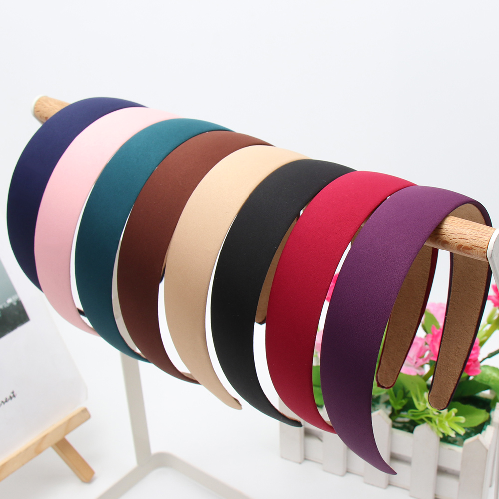 Hot 1PC Plastic Fashion Canvas Wide Headband Hair Band   Headwear   Solid Hair Accessories For Women