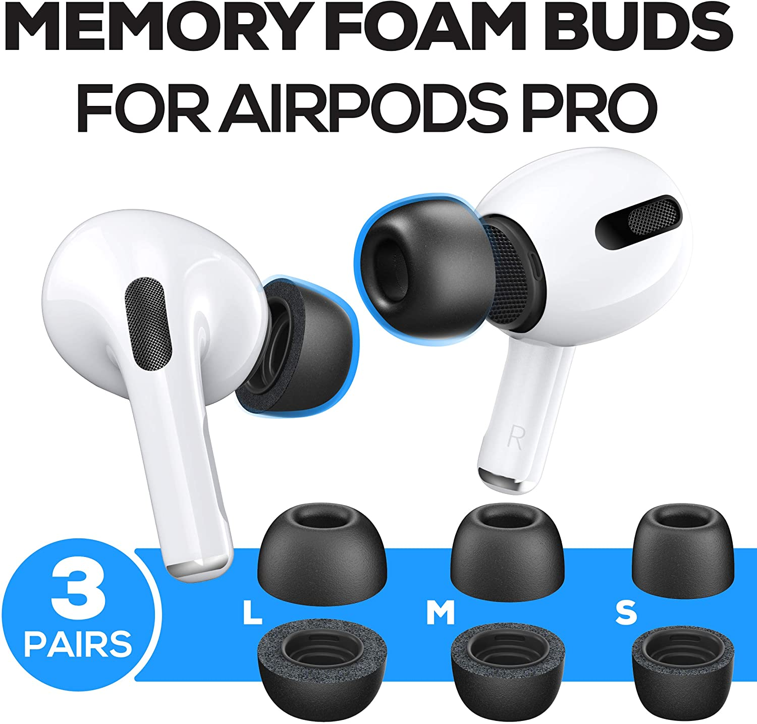 Replacement Ear Tips Earbuds For Airpods Pro 3 Anti Slip Black
