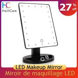 Зеркало для макияжа с сенсорным светодиодным экраном, профессиональное косметическое зеркало с 16/22 светодиодными лампами, Регулируемая ст...
