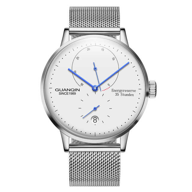 GUANQIN luminoso reloj de negocios mecánico automático de primera marca de lujo de acero inoxidable relojes de pulsera para hombre reloj de oro Reloj inteligente multilingüe Huami Amazfit Bip GPS Glonass Smartwatch reloj inteligente Watchs 45 días en espera para teléfono Xiaomi MI8 IOS