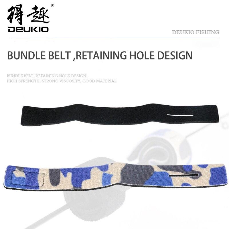 DEUKIO Fishing Bundle Belt Protect Fishing Rod Soft Elastic OK Cloth SBR Tie Belts Fishing Tackle Pesca 24.3CM 24.4CM 2 Colors