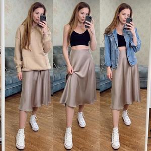 Image 4 - 女性のスカート韓国スタイルaラインサテンブラックハイ足首の長さの女性のスカートmujer段faldasファムjupes saias mulher