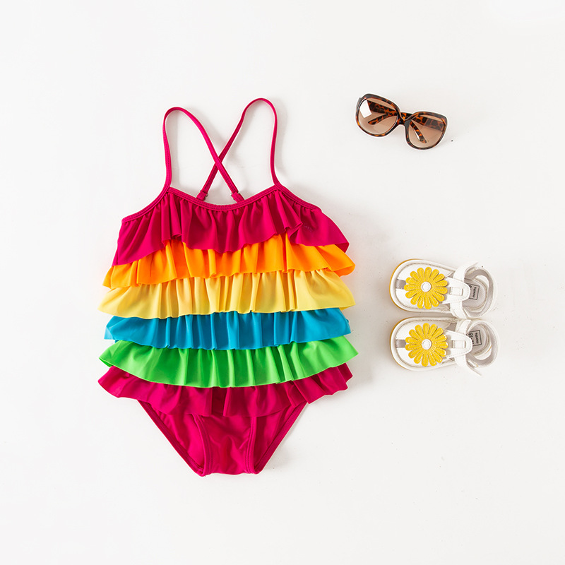 Girl'S One-piece Swimming Suit Rainbow Layers Sling Children Hot Springs Bathing Suit