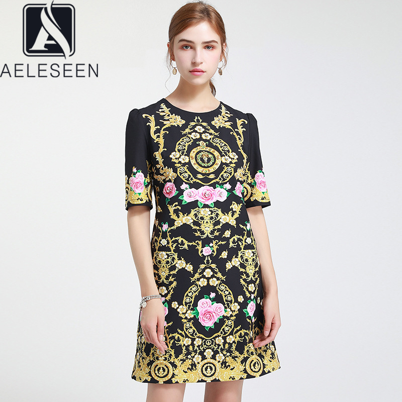 AELESEEN Vintage noir robe d'été femmes piste mode dimond perles fleur imprimer une ligne fête vacances tenue décontractée