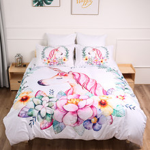 Leuke Eenhoorn Bloemen Beddengoed set meisje cartoon roze eenhoorn Dekbedovertrek Twin queen king size Bed Beddengoed kamer 3pcs dropshipping(China)