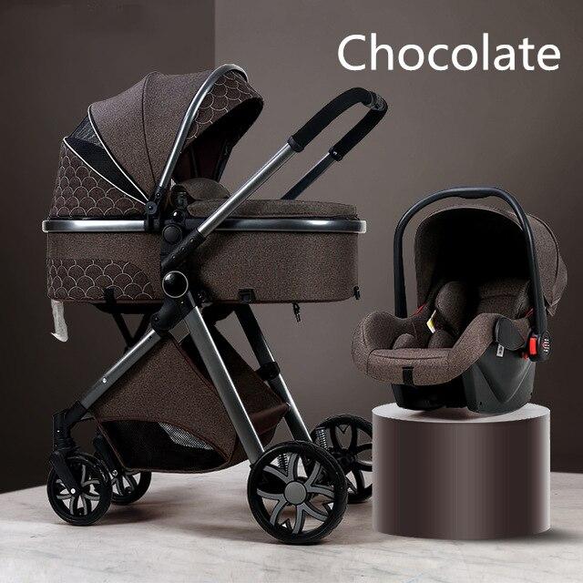 Carrinho de bebê de luxo 3 em 1, carrinho de bebê dobrável de couro com moldura de alumínio da paisagem de alta qualidade com presentes para carrinho de bebê 5