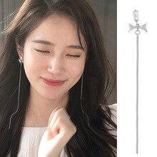 цены New Design Silver Color Bow AAA Zircon Long Tassel Drop Earrings 925 Charm bow-knot Long Earrings For Beautiful Women Girl Gift