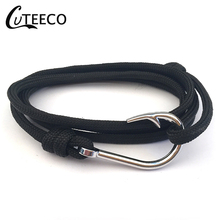 CUTEECO New Fashion 4 color Fish hook Anchor Bracelets Men Charm Chain Rope Bracelet Jewelry Male Wrap Metal Sport Anchor Hooks stylish anchor rope chain wrap bracelet for men