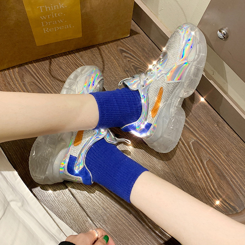 JODIMITTY Women Crystal Transparent Sneakers Harajuku Ladies Platform Jelly Shoes Laser Casual Shoes Shining Running Footwear
