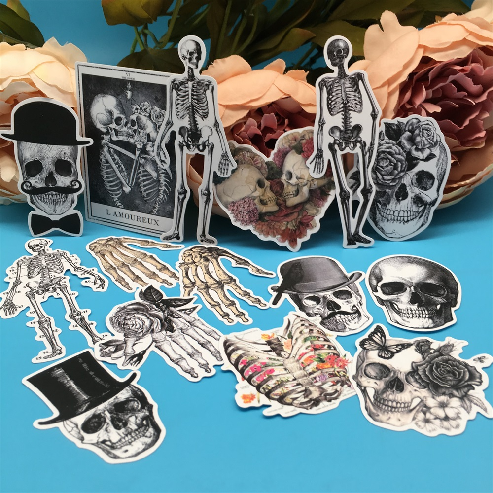 14Pcs/Set Sexy Skeleton Bone Skull Vintage Sticker DIY Craft Scrapbooking Album Journal Happy Planner Decorative Stickers