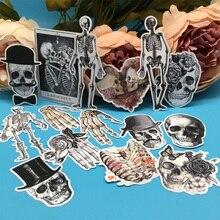 14 adet/takım seksi İskelet kemik kafatası Vintage Sticker DIY zanaat Scrapbooking albümü dergisi mutlu planlayıcısı dekoratif çıkartmalar