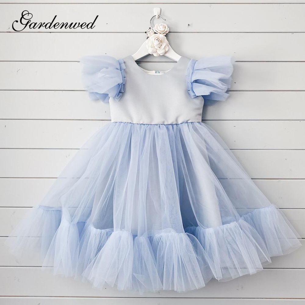 Light Blue Flower Girl Dresses O-Neck Ruffles Cap Sleeves Girls Wedding Party Dresses Tiered Pleat Tulle A-Line Communion Dress