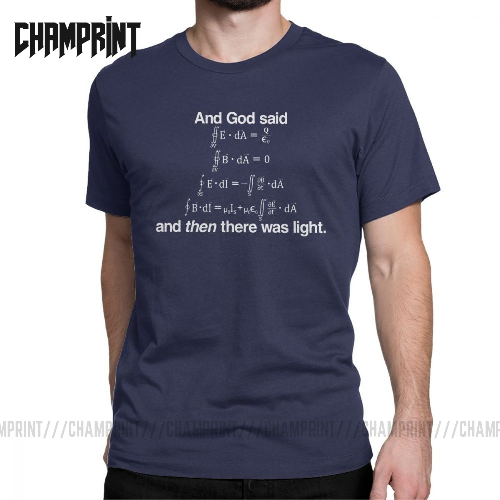 Men's And God Said Maxwell's Equations T Shirt Science Physics Geek T-Shirts Mathematics Tops Equation Nerd Cotton Tee Shirt