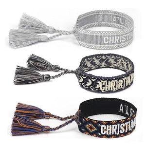 Nova amizade artesanal bordado pulseira para mulheres corda ajustável pulseira borla pulseiras atacado jóias vintage