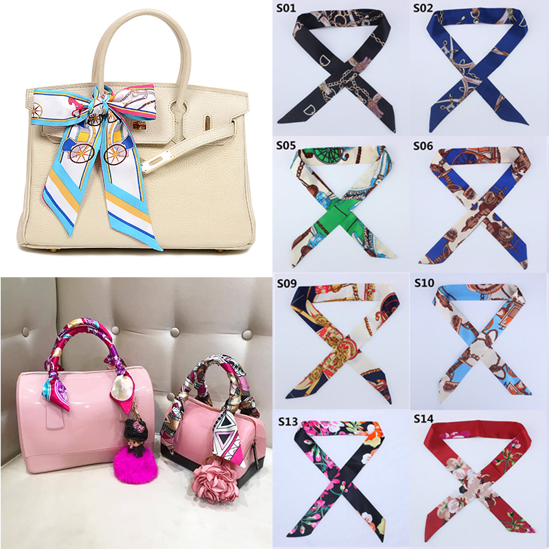 38 Colors New Silk Scarf Women Hairband Ribbons Tied Scarf Bag Decoration Tie Multifunction Hand Ribbon Scarf 4*100cm Headscarf