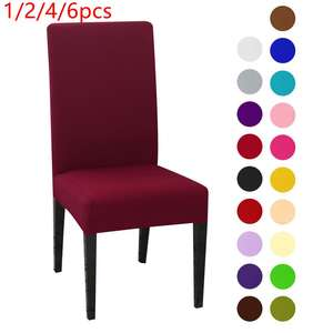 Chair-Cover Stretch Spandex Dining-Room Wedding-Banquet Kitchen Solid-Color for 1/2/4/6pcs