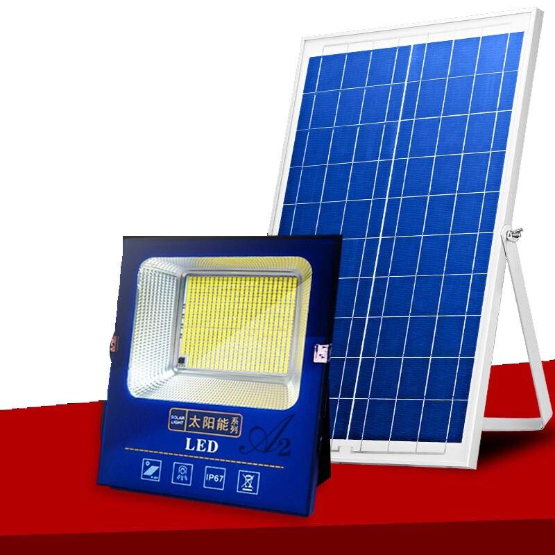 A2 100-500w iluminação solar biger conduziu a lâmpada solar super bright100 waterma grande capacidade bateria spotlight waterproo exterior sem fio