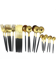 Spoon Tableware-Set Knife-Fork Kitchen-Mirror Gold 304-Stainless-Steel 24pcs/Set Colorful