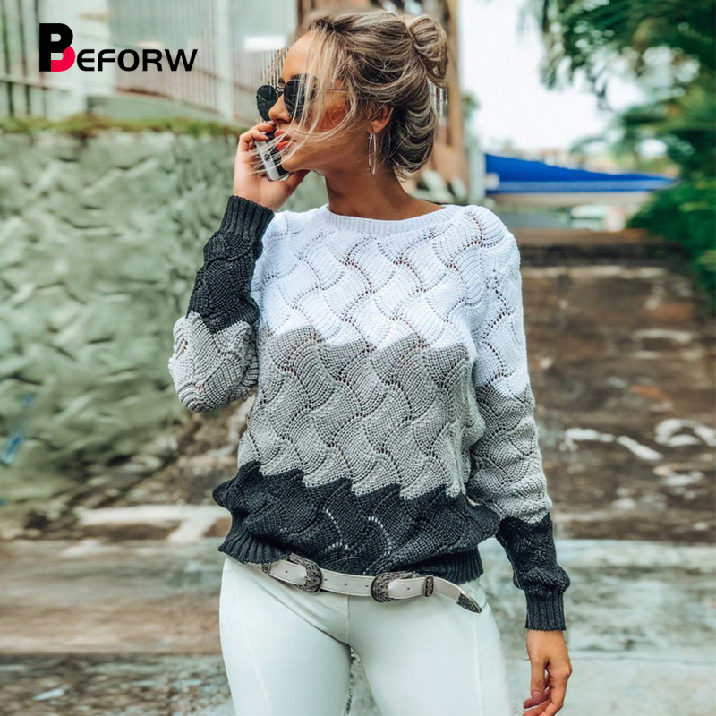 BEFORW 2019 Women Winter Long Sleeve Crewneck Knitted Pullover Sweater Vintage Splice Casual Fall Womens Sweaters Pullovers Tops