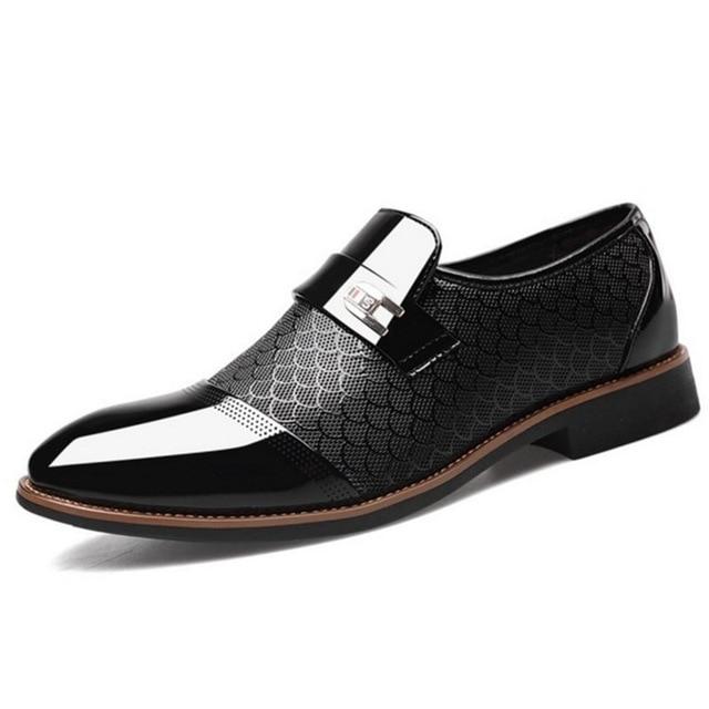 Italian Black Formal Shoes Men Loafers Wedding Dress Shoes Men Patent Leather Oxford Shoes For Men Chaussures Hommes En Cuir 2