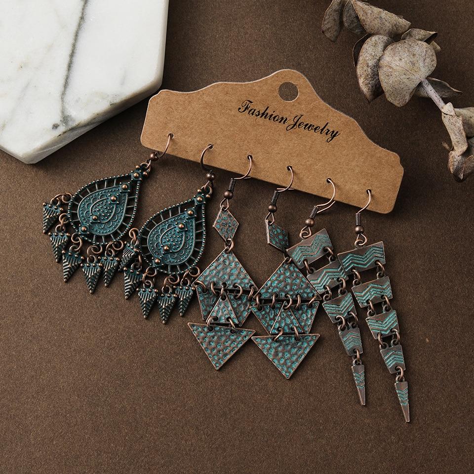 Vintage Mixed Tassel Earrings Set For Women Bohemian Brincos Crystal Round Geometric Water Drop Earring New Female Jewelry Gift