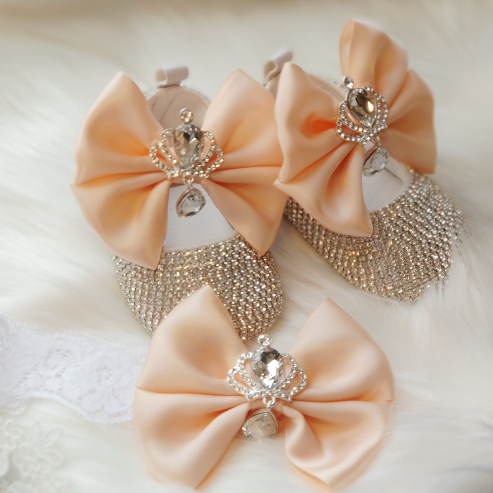 Dollbling Delicate Apricot Butterfly Baby Shoes Headband Set Luxury Diamond Fluff Outfit Red Bottom Little Girl Baptism Shoes