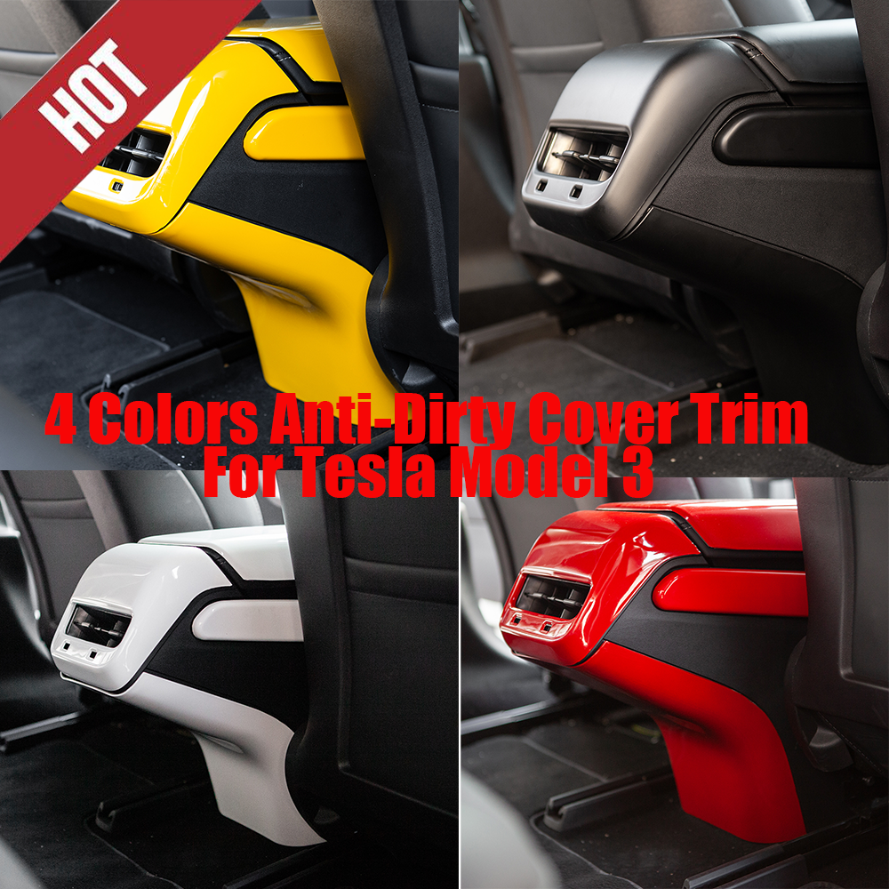 4 Colors ABS Rear Air Vent Outlet Anti-Dirty Cover Trim  For Tesla Model 3 18-20