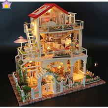 DIY Doll House Christmas Gift Model Toys For Everlasting Light Dollhouse Mini Building Minature Crafts Home Decorations 13845
