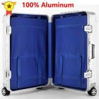 LEINASEN-maleta de viaje de aluminio con ruedas de 20